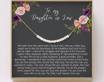 8b68e63a Daughter-In-Law Necklace •Pearl Bar Necklace • Wedding Gift • Freshwater  Pearl, gift from Mother-In Law • Gift for Bride,Bride necklace,W21