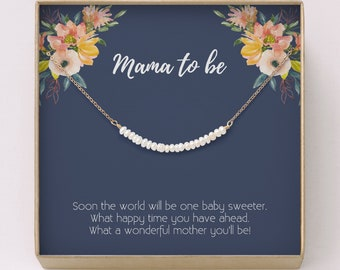 New Mom Gift O Pregnancy Freshwater Pearl Bar Necklace Baby Shower For Expectant MothersPregnant Sisters Friends NB6