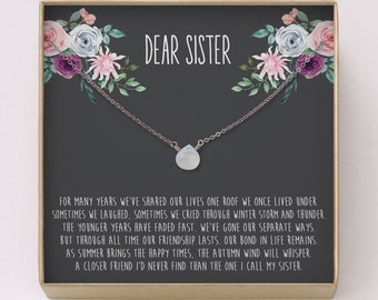 Sister Gift O Genuine Moonstone Necklace Natural Stone Birthday Quote Simple Jewelry For S9