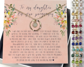 Dainty Karma Birthstone Necklace •Daughter Pregnancy Gift • Daughter's first Pregnancy Gift• Gift for Expectant Daughter, NB15a