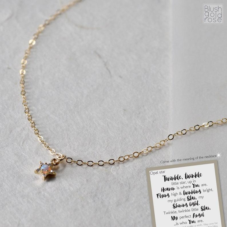 Christmas Gift BF24b Best Friend Gift \u2022 Tiny Opal Star Necklace \u2022 Best Friend Jewelry Gift \u2022 Friend Birthday