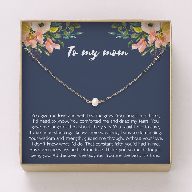 Mom Necklace Gift  Freshwater Pearl Necklace  Thank you gift image 0