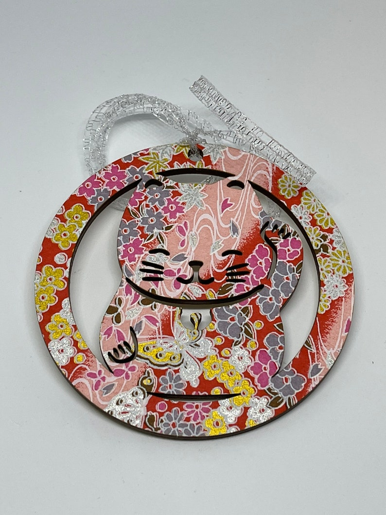 Japanese style yuzen chiyogami washi wood Christmas ornament cat