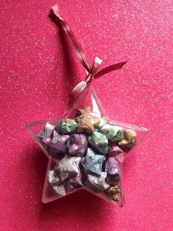 Origami lucky stars ornament Totoro pastel Christmas ornament