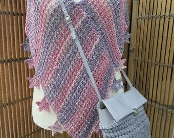 Poncho crochet, crochet bag, collier, necklace, ceramic jewelry, Häkelmode, accessories, set