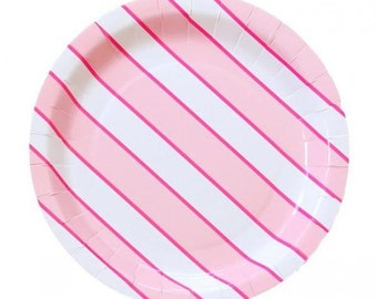 """Pink Stripes 9"""" Paper Plate"""