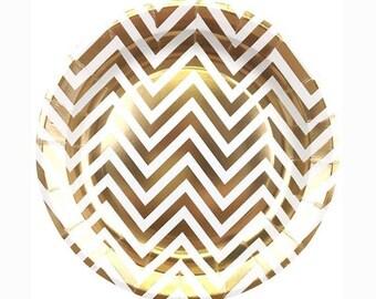 "Gold Foil Chevron 7"" Paper Plate"