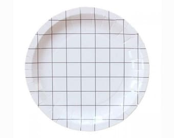 """White Grid Lines 7"""" Paper Plate"""