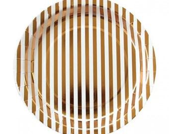 "Gold Stripe 9"" Paper Plate"