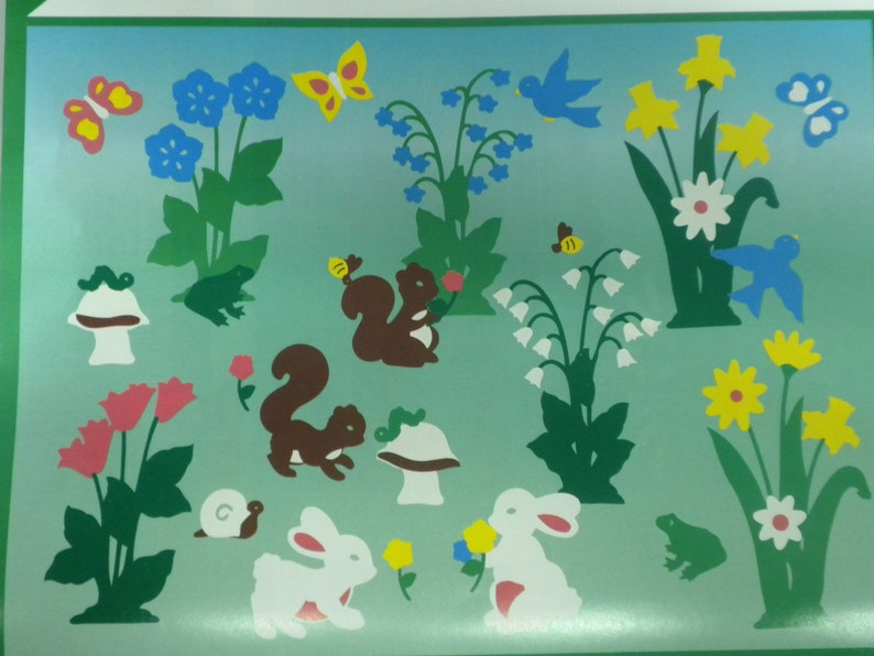 Flowers Easter Spring Garden Window Clings Stik-EES  Bunnies and More 112 piece set New