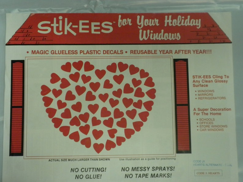 Stik-EES Valentine Hearts Red Pink Purple Window Clings  Reusable NEW White