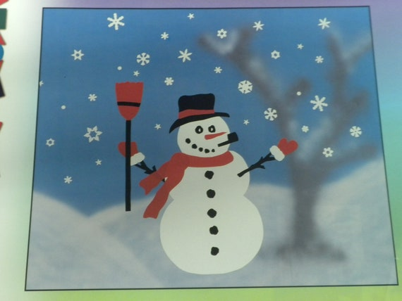 Snowman Christmas Window Clings Frosty is 19 inches tall snowman and winter apparel along with lots of snow flakes Mr