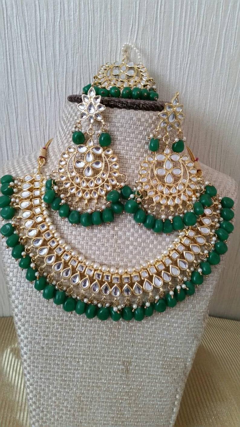 d86ee8dba4d89 Green Beads Handmade Kundan Gold Plated Indian Bollywood Choker Necklace  Earrings Tikka Jewelry Set Perfect Bridal Wedding Fashion Jewellery