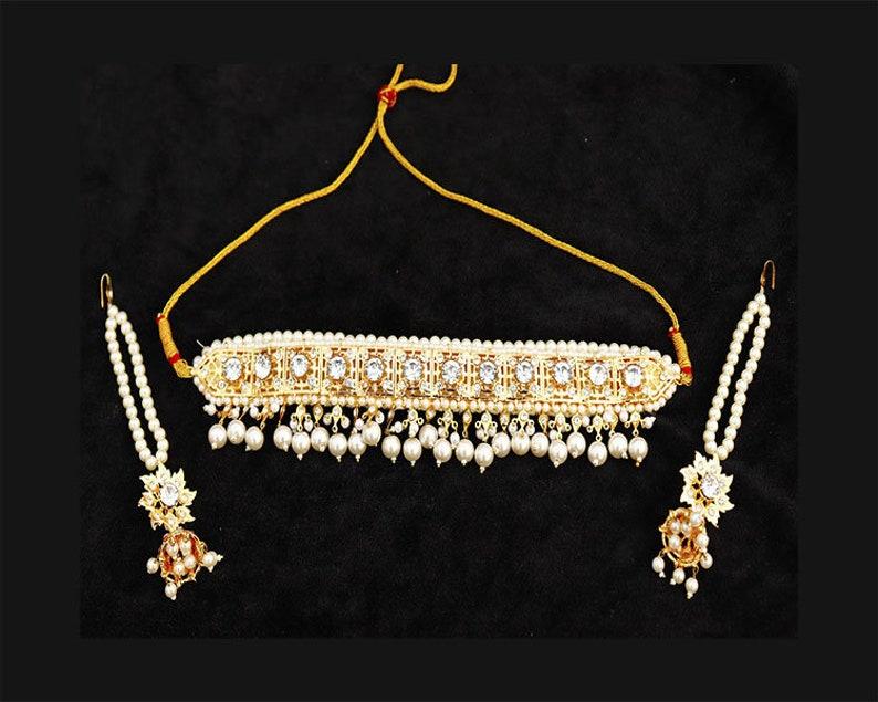 cd1e6b970 Diamants CZ blancs Hyderabadi ras du cou bijoux indien pakistanais mariée  mariage mode bijoux or plaqué collier boucles d'oreilles