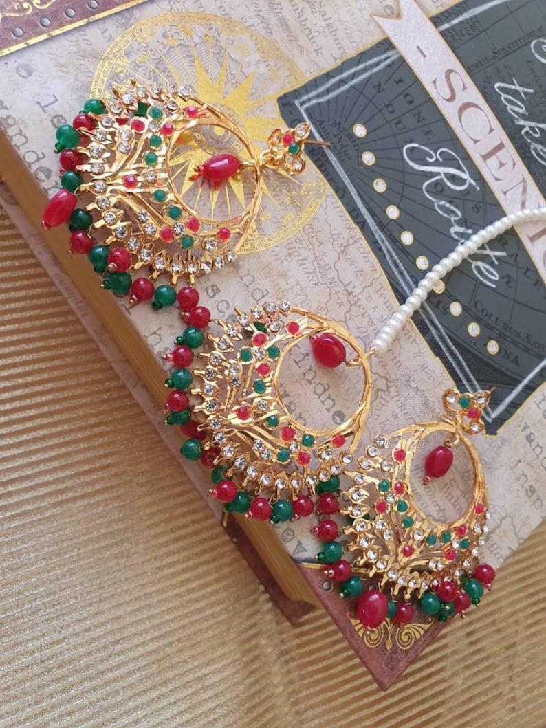 Jadau jarau earrings Hoops teeka headpiece ballis ballay nizami hyderabadi jewelry wedding bridal Bollywood tikka tikkli hair accessories