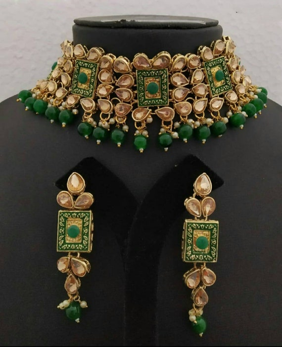 bollywood necklace Meenakari bridal necklaceset Indian necklace emerald Kundan Choker necklace with Jhumka earrings Pakistani necklace