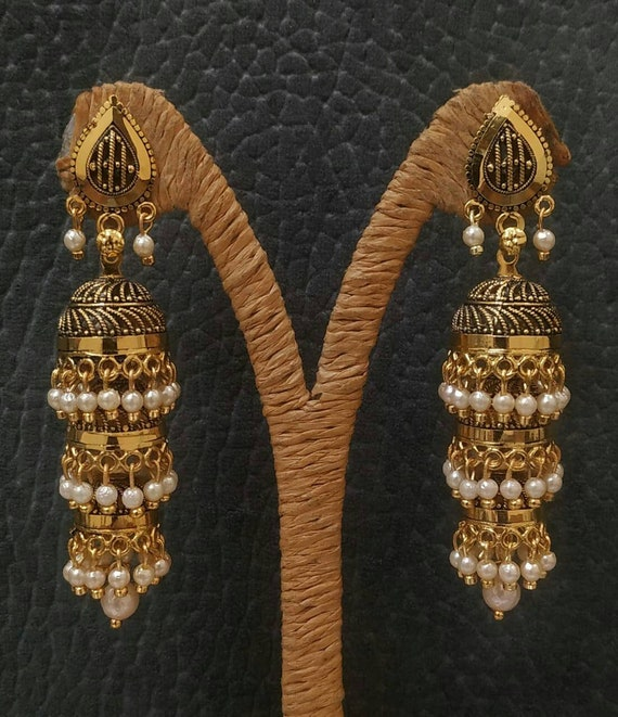 Indian jewellery bridal wedding Indian earrings beautiful antique look jhumkis ethnic and traditional Indian party jewelry  gift earrings UK