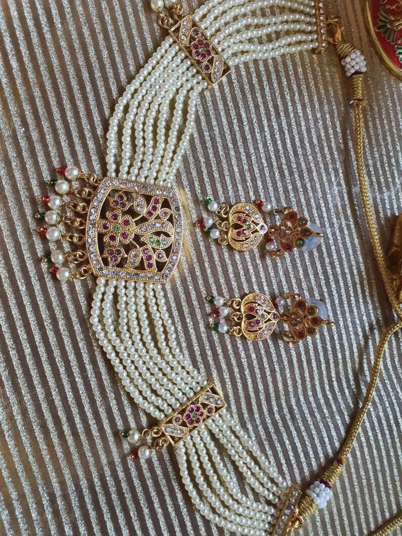 Indian jewelry bridal wedding kundan polki earrings necklace choker set ethnic punjabi Pakistani jadau jarau pearls gift birthday anniversar