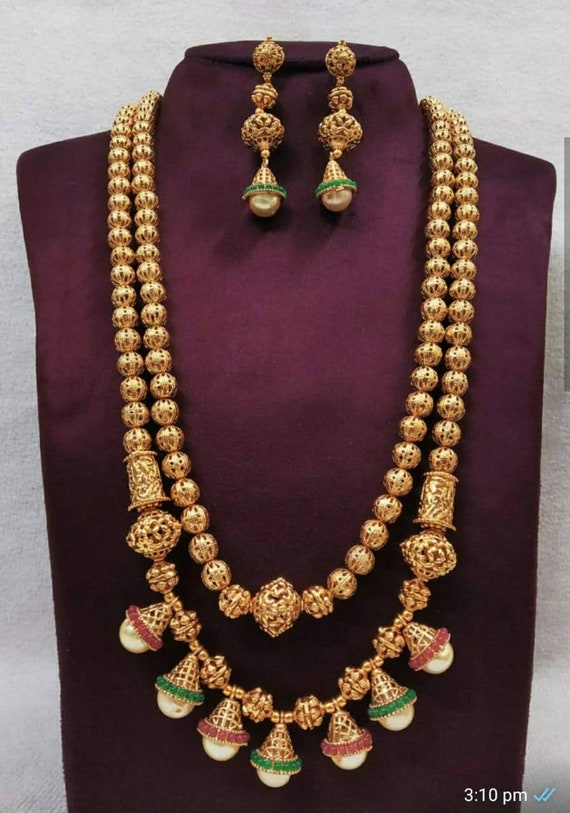 Indian Jewelry Long Mala Necklace Set Ethnic Gold Plated Traditional Long Set