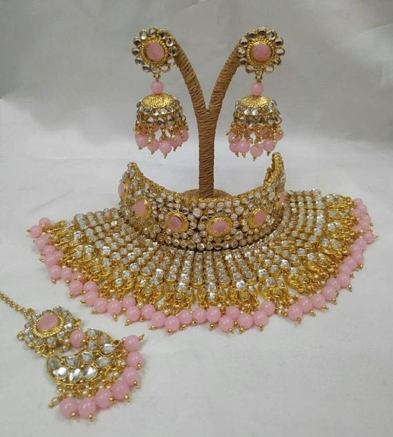 Indian jewellery jewelry wedding bridal party Necklace Mala choker earrings teeka set pearls hand made jewelry beads antique look head piece