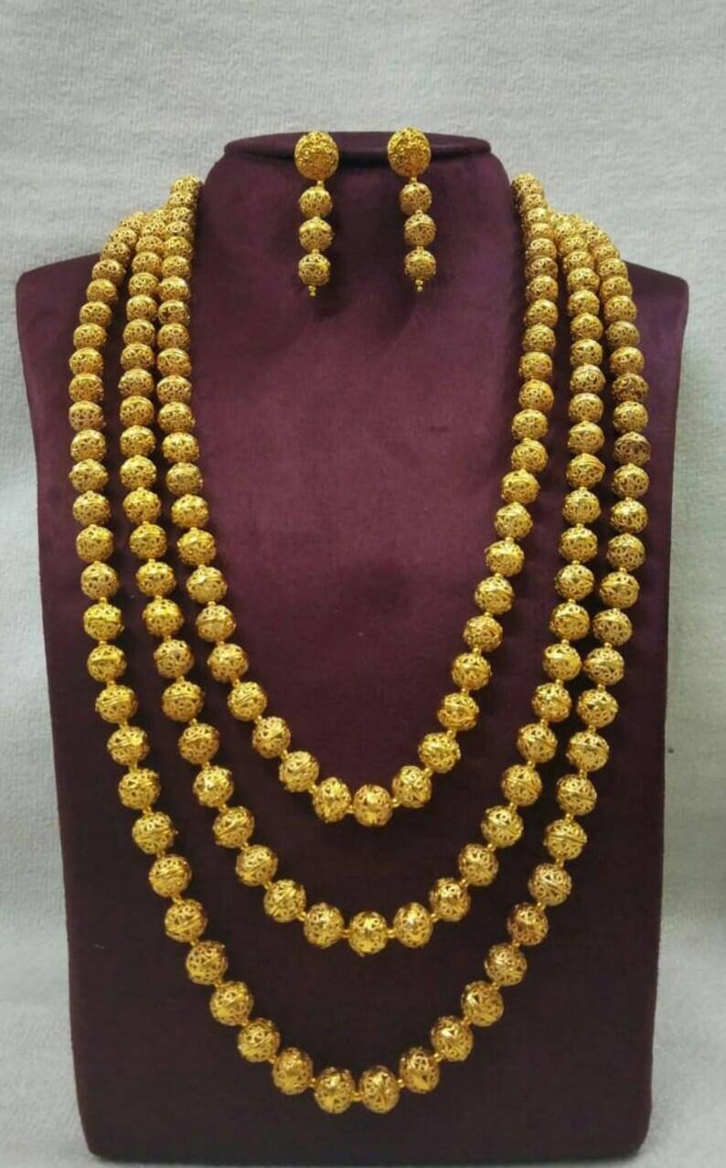 Indian jewelry wedding bridal party necklace set mala set high quality copper Rajwada punjabi multi layers gift jewelry  ball necklace new