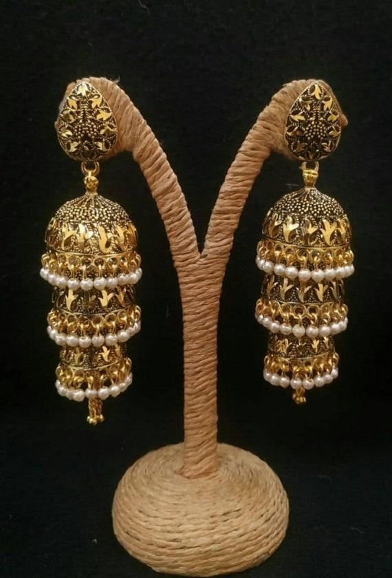 Indian White Pearl Multi Layer Gold Jhumka Earrings Jhumki Ethnic Jewelry Set