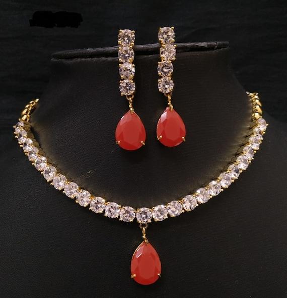 Cz Diamond Necklace Set Handmade Indian Necklace Set Bridal Etsy