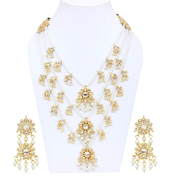 3 Layers Pearls Designer Necklace Earrings Gold Plated Etsy