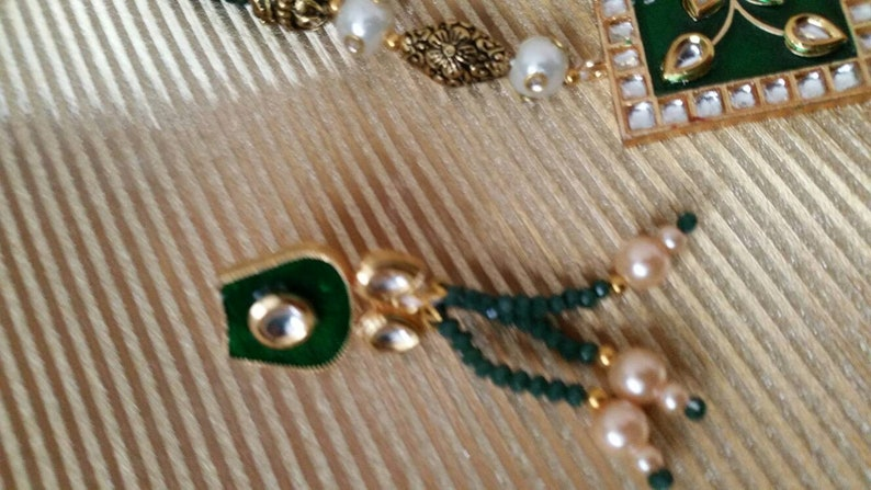 Beautiful hand made crystals long mala necklace pendant set kundan meenakari pearls jewellery wedding party Indian jewelry kundan earrings