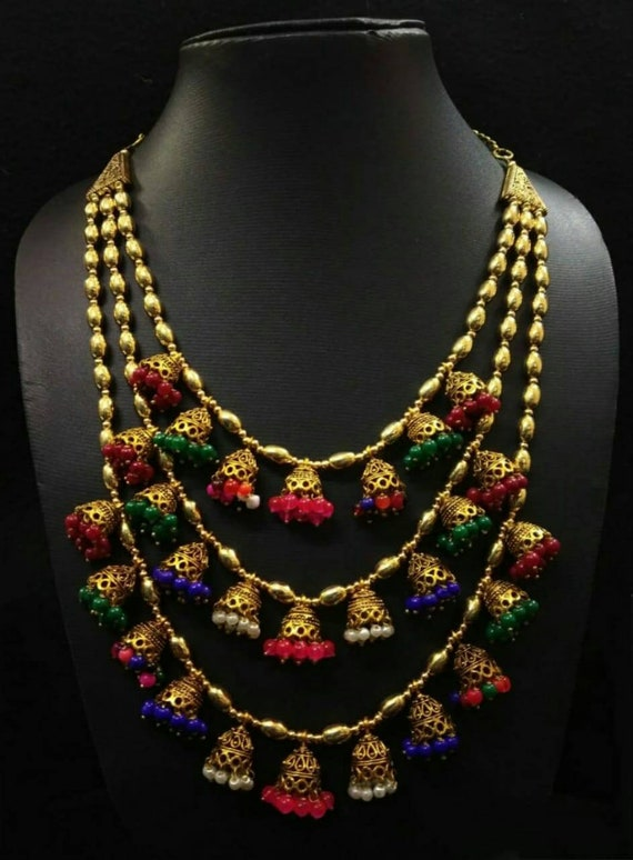 Indian Jewelry Wedding Bridal Indian Jewellery Jhumka Necklace Etsy