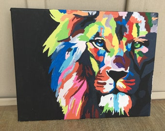 Multicolored Lion Painting