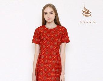787c2494498 Asana Trunamanggala Woman Batik Dress Red Made in Indonesia