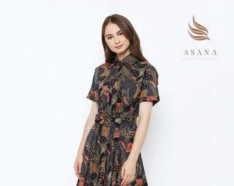 13b72cd02b3 Asana Mora Woman Batik Dress Black Made in Indonesia