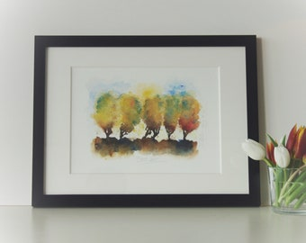 Original watercolor in wooden frame, autumnal mood in watercolor, original framed incl. passepartout, autumn Colors