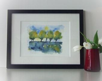 Original watercolor in wooden frame, green spring-coloured mood in watercolor, framed in wooden frame incl. passepartout