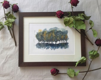 Original watercolor in wooden frame, night dark trees nocturnal mood in watercolor, original framed in wooden frame incl. passepartout