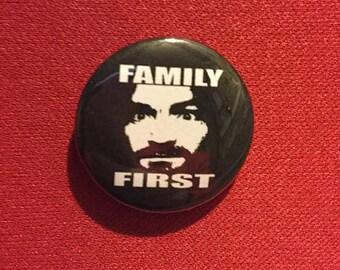 "Charles Manson 1"" pinback button"