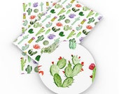 Colorful Cactus Western Print Synthetic Leather - Faux Artificial Leather - DIY Fabric For Bag Bow Making - Printed Sewing Vinyl 10306