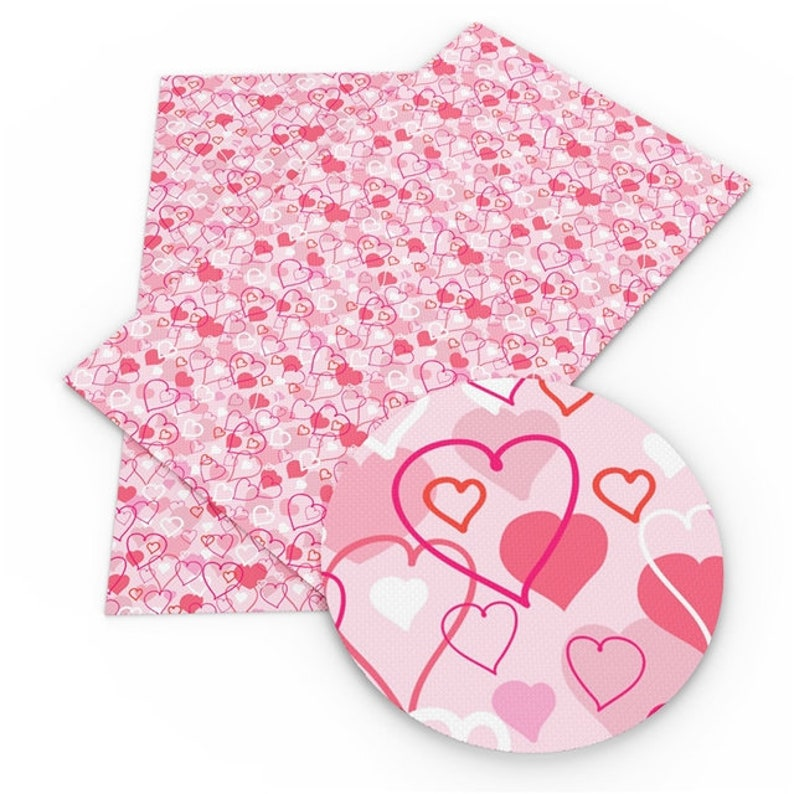 Pink Layered Heart Print Synthetic Leather Valentine Faux Leather Sheets DIY Fabric For Bag /& Bow Making Printed Sewing Vinyl