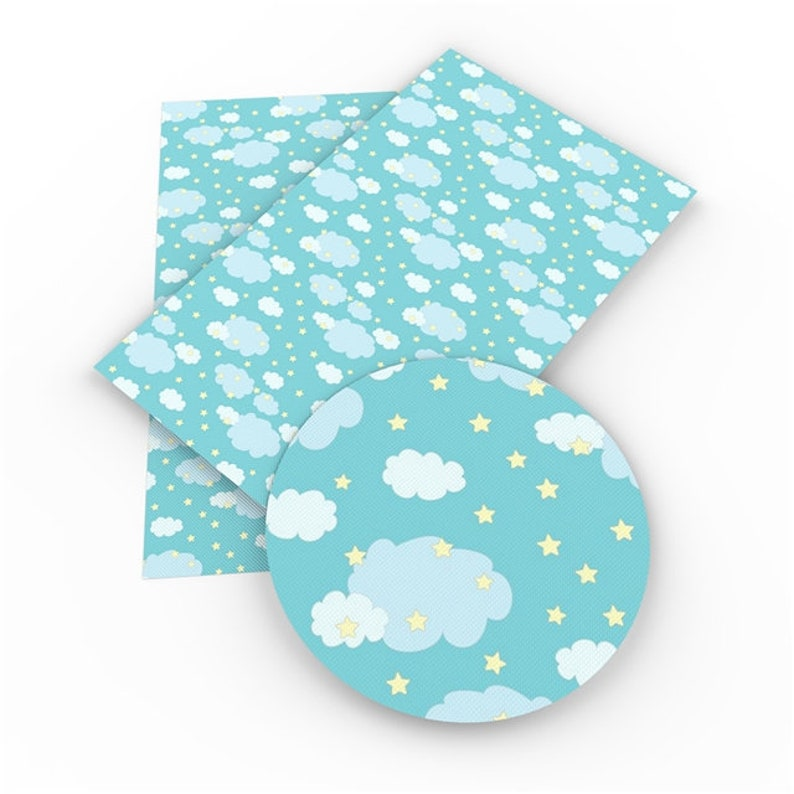Starry Sky Cloud Print Synthetic Leather Faux Leather Sheets DIY Fabric For Bag /& Bow Making Sewing Vinyl