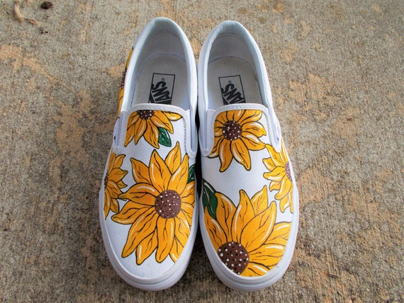 96c5ce31cf0 Hand-Painted Sunflower Slip On Shoes
