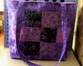 Purple Quilted Tote Bag