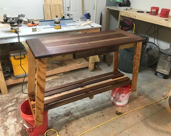 Walnut and Maple Entry Table