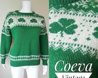 8fb61c7053b Vintage 1970s - 1980s Wool Sweater   BLARNEY CASTLE   Irish Fisherman s  Sweater   Shamrock Green Cream Wool Jumper   Ireland