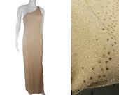 Vintage 1990 39 s LA Glo Gold Lurex Dress Shimmer One Shoulder Gown
