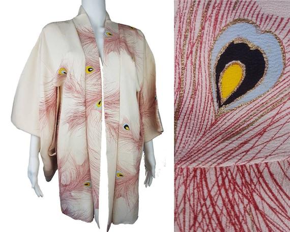 Vintage 60s | Silk Haori Kimono Robe |  Red Peacoc