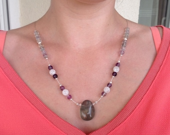 Multicolor fluorite necklace