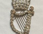Marty Dan Vintage Rhinestone Harp Brooch Aurora Borealis Pave Pastes in Silver Tone Setting Large Sparkly Music Pin Lyre Instrument