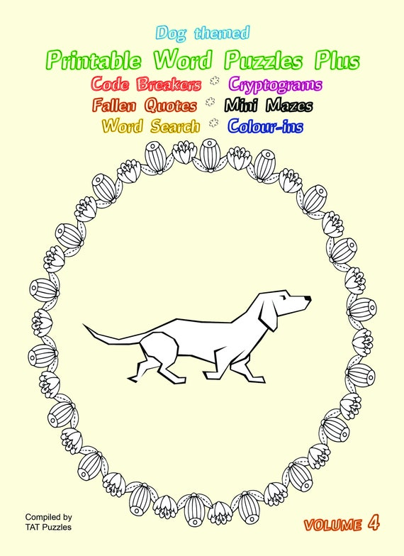 Dog Themed Printable Word Puzzles with bonus Colour-ins - Volume 4