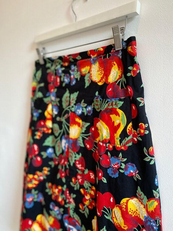 Vintage A-Line Fruit Print Skirt